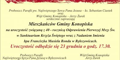 40. rocznica pierwszej mszy św. w Sanktuarium Krzyża Świętego w Rększowicach